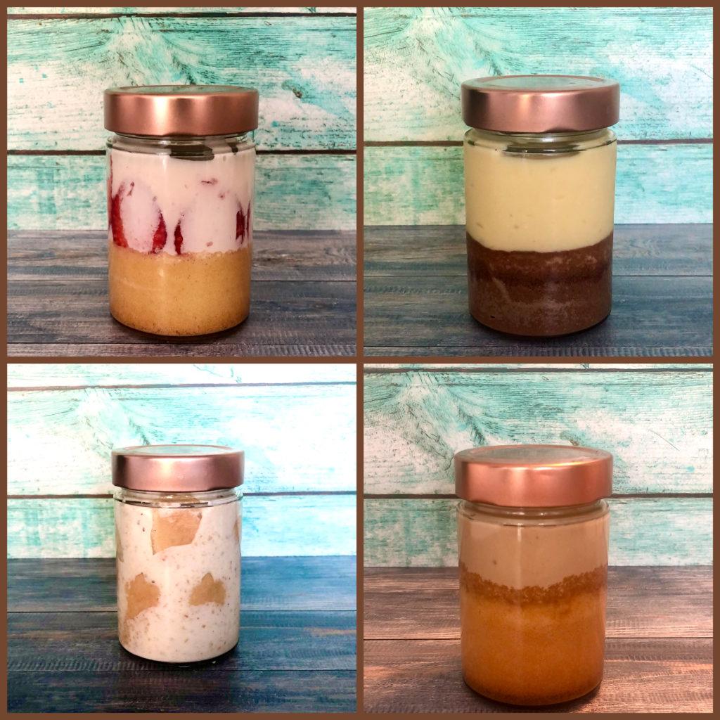 Es sind folgende Torten im Glas zu sehen:Erdbeer Joghurt Schoko Orange Malakoff Kaffeecreme